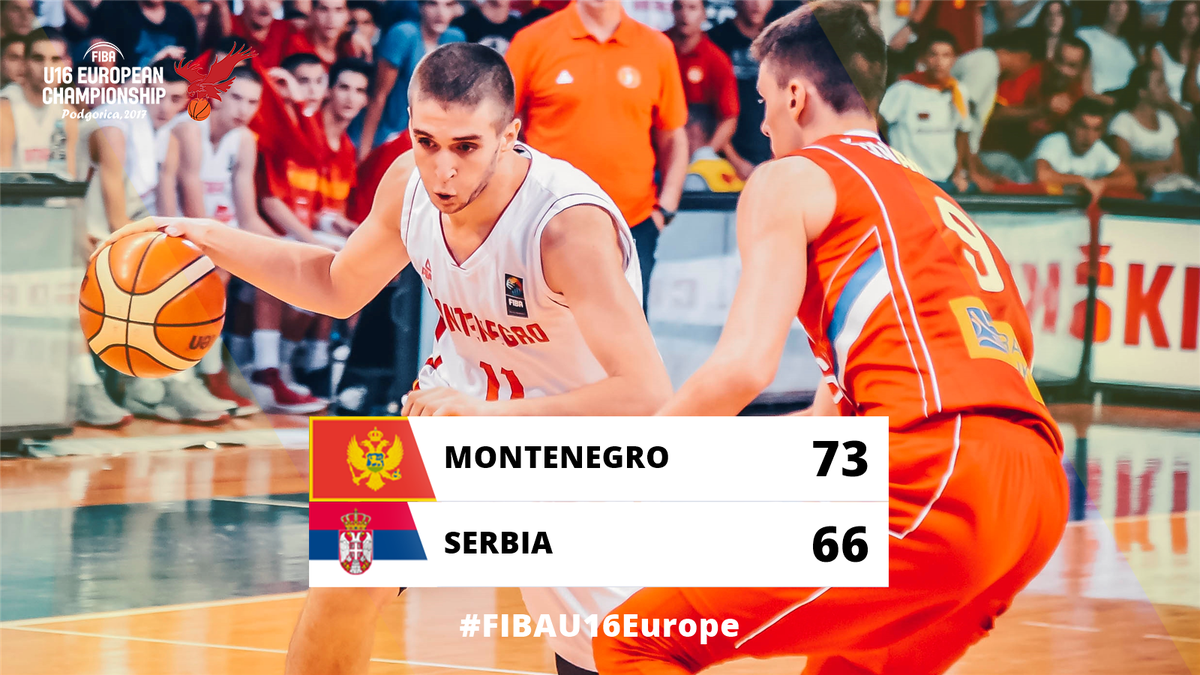 Hosts Montenegro 🇲🇪 stun @KSSrbije 🇷🇸 and advance to the #FIBAU16Europe FINAL.  📖