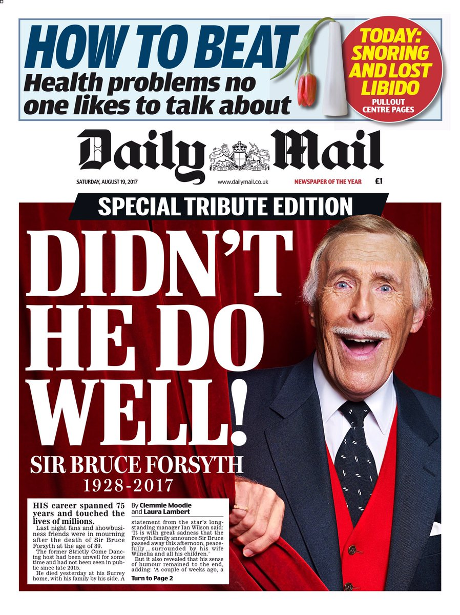 SATURDAY'S DAILY MAIL TRIBUTE EDITION: