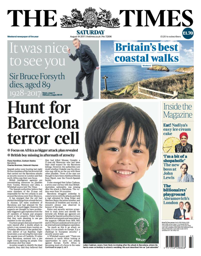 Tomorrow's front page: Hunt for Barcelona terror cell #tomorrowspapert...