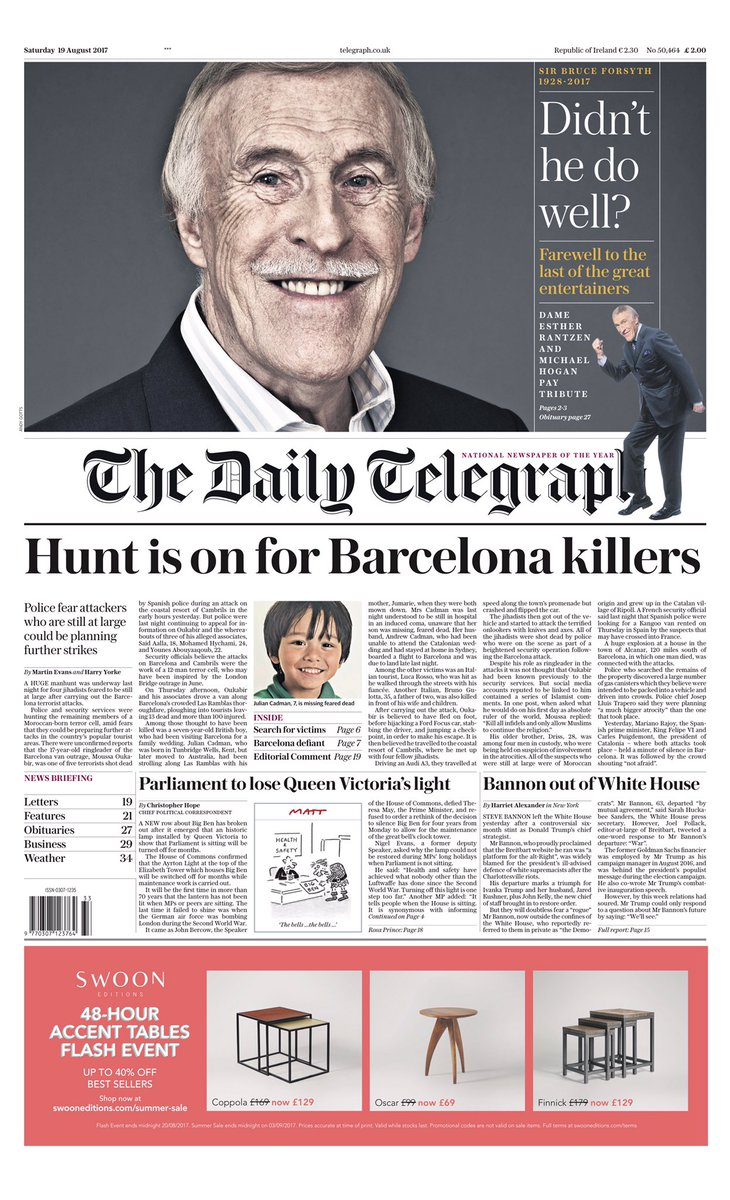 SATURDAY'S DAILY TELEGRAPH: 'Hunt is on for Barcelona killers' #tomorr...
