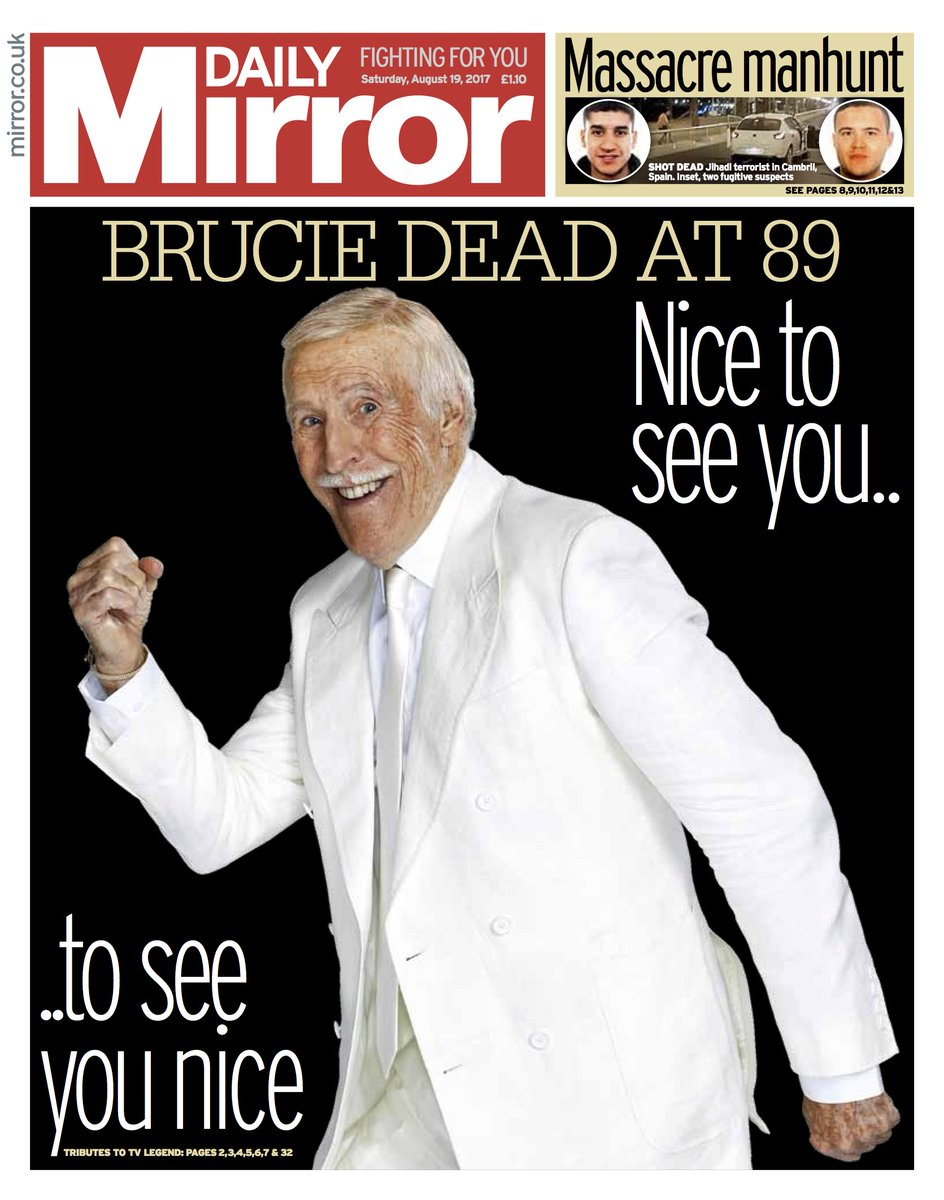 Tomorrow's front page: Brucie dead at 89 #tomorrowspaperstoday https:/...