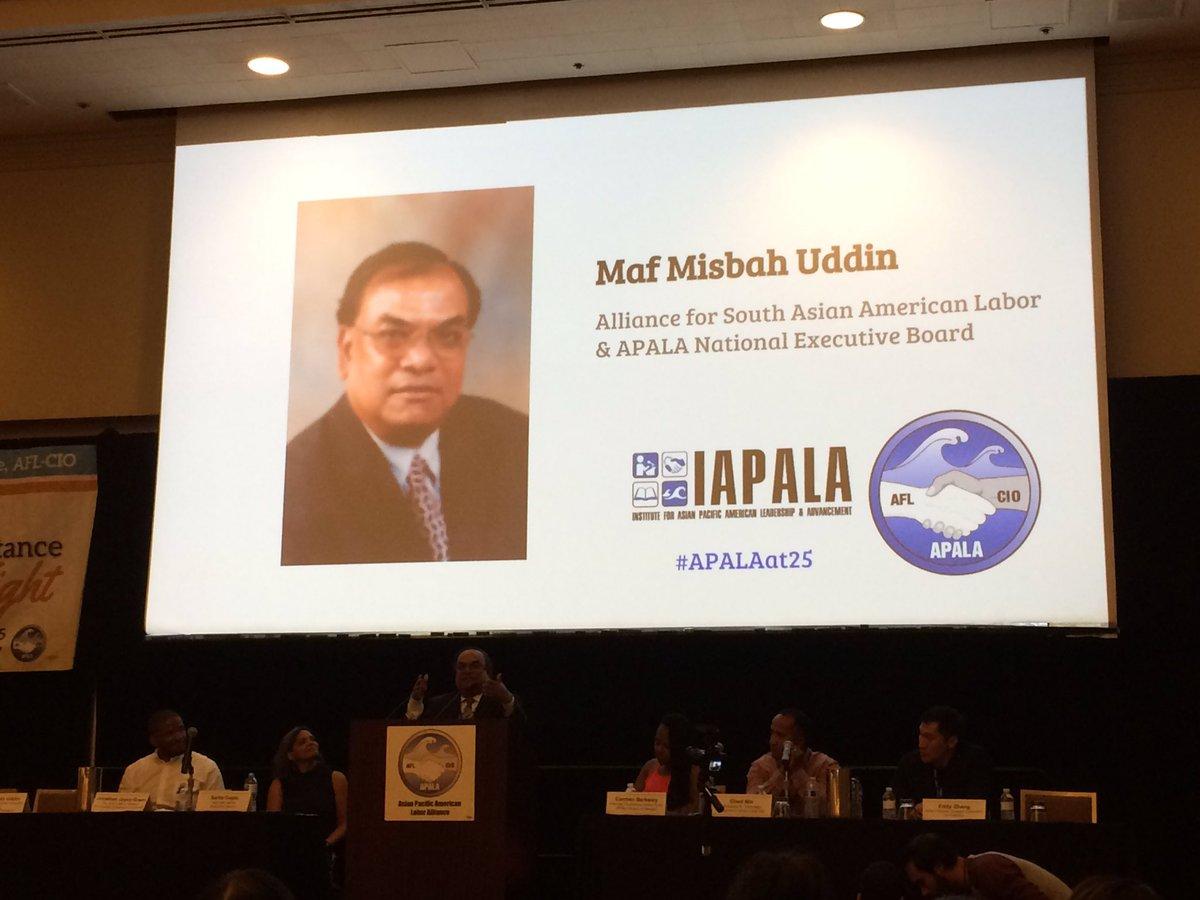 President of @AFSCME @local1407 Maf Misbah Uddin fires up delegates at @APALAnational Convention. #Organize, organize, organize! #APALAat25<br>http://pic.twitter.com/LwolQHJIG9