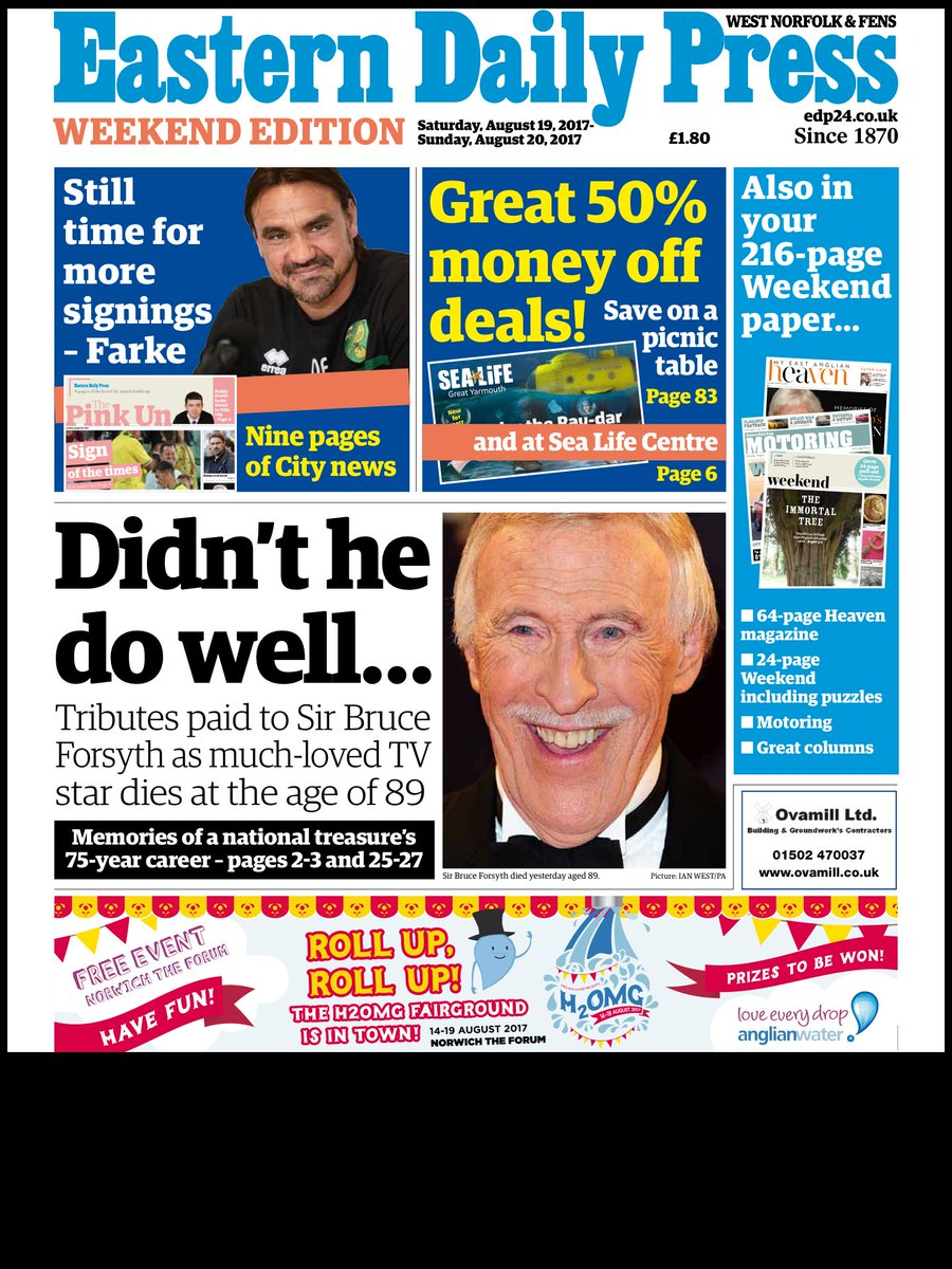Five pages of tributes to Brucie in Saturday's @EDP24 @hendopolis #tom...