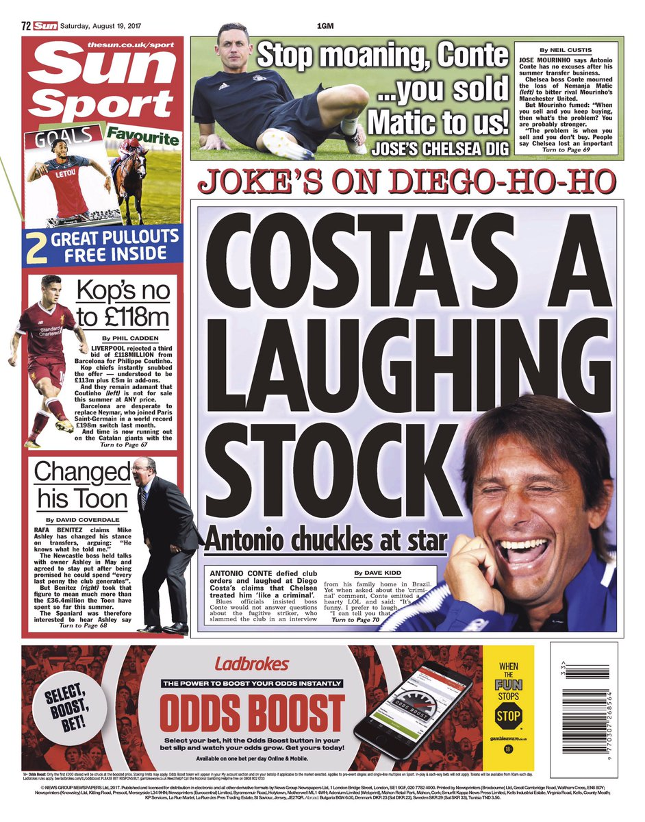 SUN SPORT: Costa's a laughing stock #tomorrowspapertoday https://t.co/...