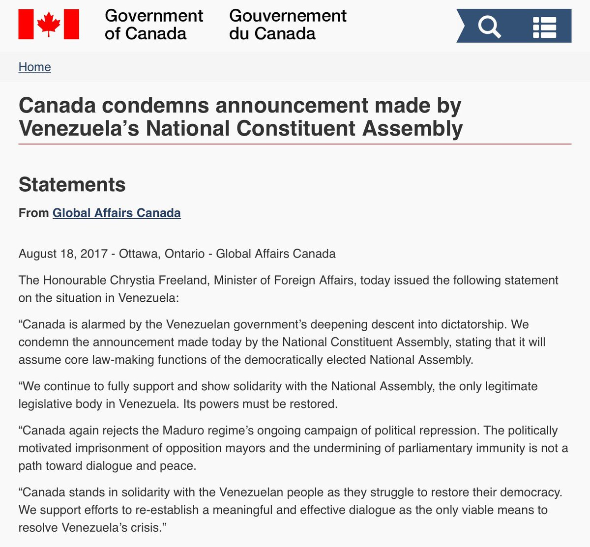 #Canada condemns announcements made by #Venezuela&#39;s National Consituent Assembly #cdnpoli<br>http://pic.twitter.com/u1YR5SKnZe
