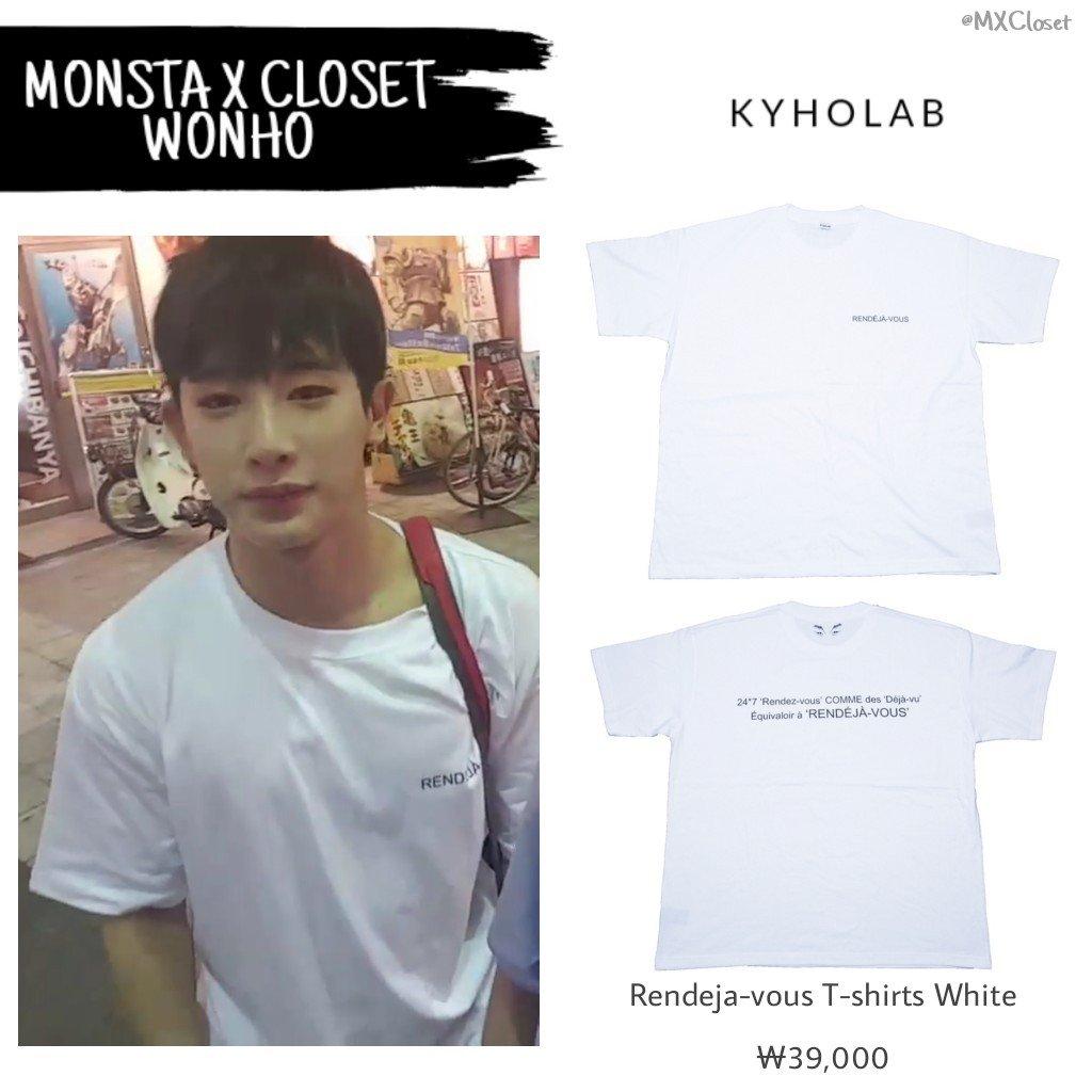 26ceeda001f [UPDATE/CLOSET] [170818 V LIVE] #WONHO Wearing KYHOLAB Rendeja-vous T-shirts  White (₩39,000) #원호 #몬스타엑스 #MONSTA_X ©MXClosetpic.twitter.com/6xFfZMSKPU