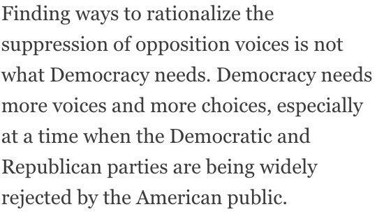 76% of US wanted 4-way debates in 2016. DNC & RNC colluded to deny them. The 2-party system is obsolete & an obstacle to real democracy.