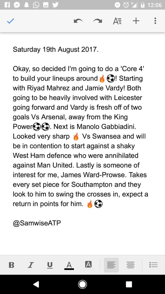 Here we go then! Hit a like if you&#39;re interested in these tips  #ATP #DraftKings #EPL #DailyFantasySports<br>http://pic.twitter.com/8EErGmFxc7