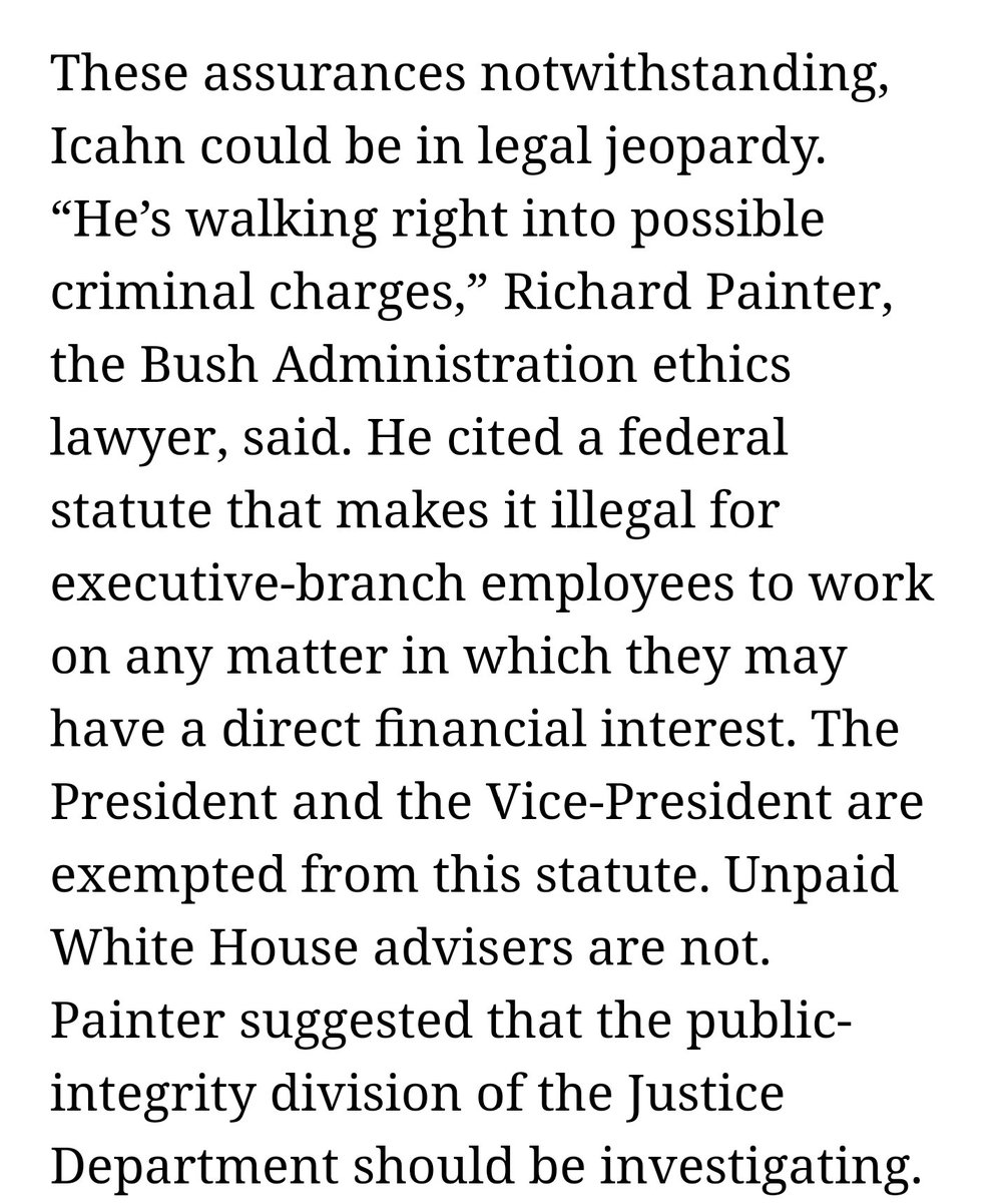 Looks like Trump advisor Carl Icahn, who resigned today, may be in leg...