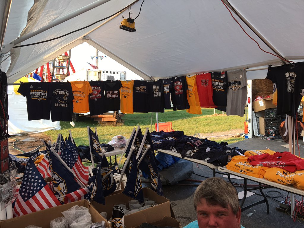 Y'all, this guy in the fair has #Preds shirts left over, A HUGE STOCK,...
