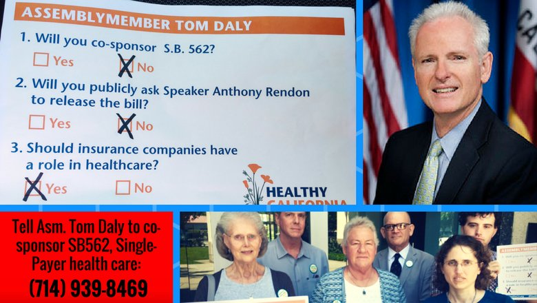 CA Assembly Dems are dropping the ball on #SinglePayer health care!  Call Asm. Tom Daly: tell him to support #SB562!  #HowIFightForJustice