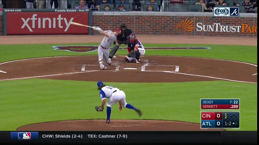 Ball gets away from Tyler Flowers, but R.A. Dickey makes it three Ks s...