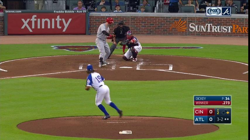 It's Winker's 24th birthday. Dickey gifts him his fourth strikeout. #B...