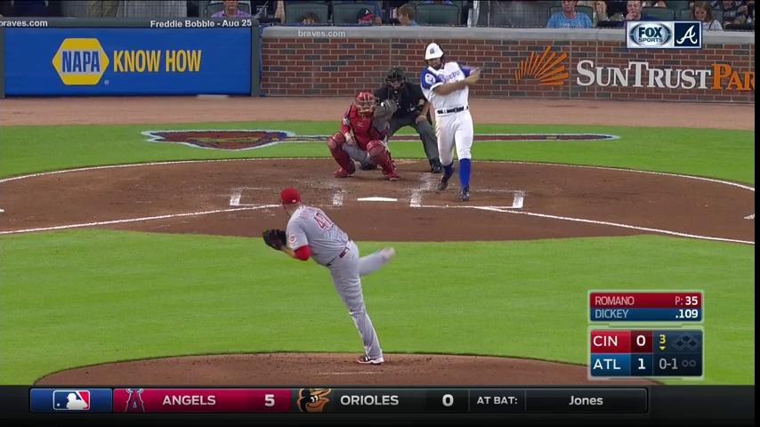 R.A. Dickey gets on via a very rare Joey Votto error. https://t.co/lHn...