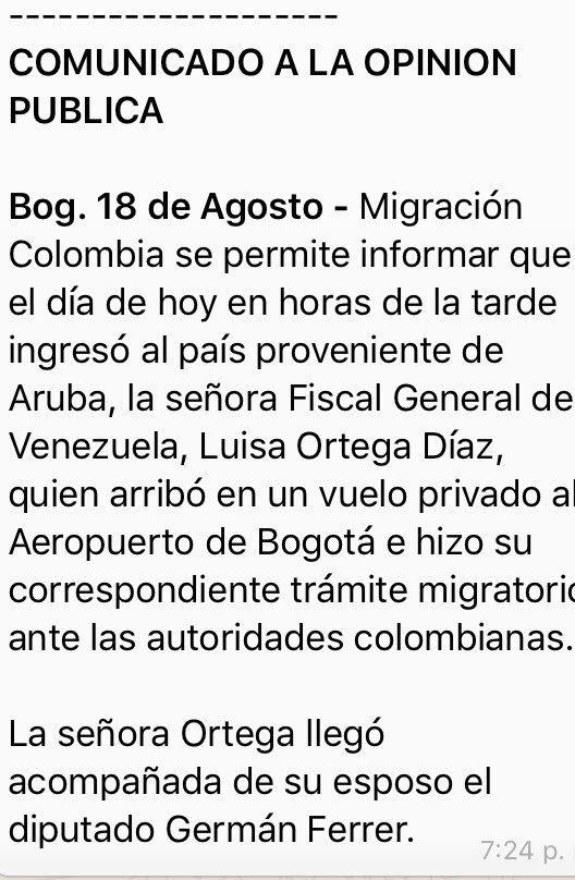 URGENTE: Migración Colombia confirma que la fiscal de Venezuela @lorte...