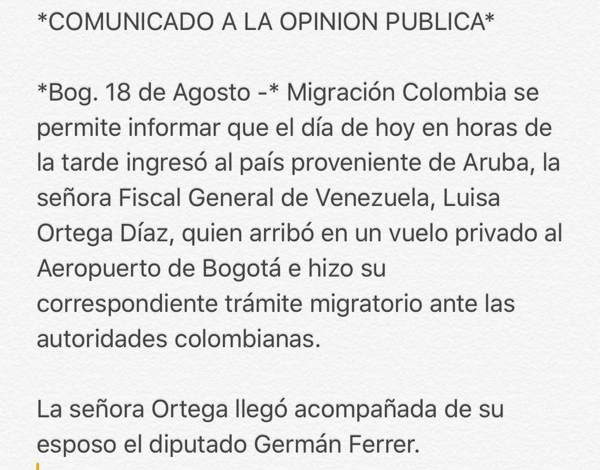 #18Ago ÚLTIMA HORA    Fiscal @lortegadiaz está en #Colombia Migración...