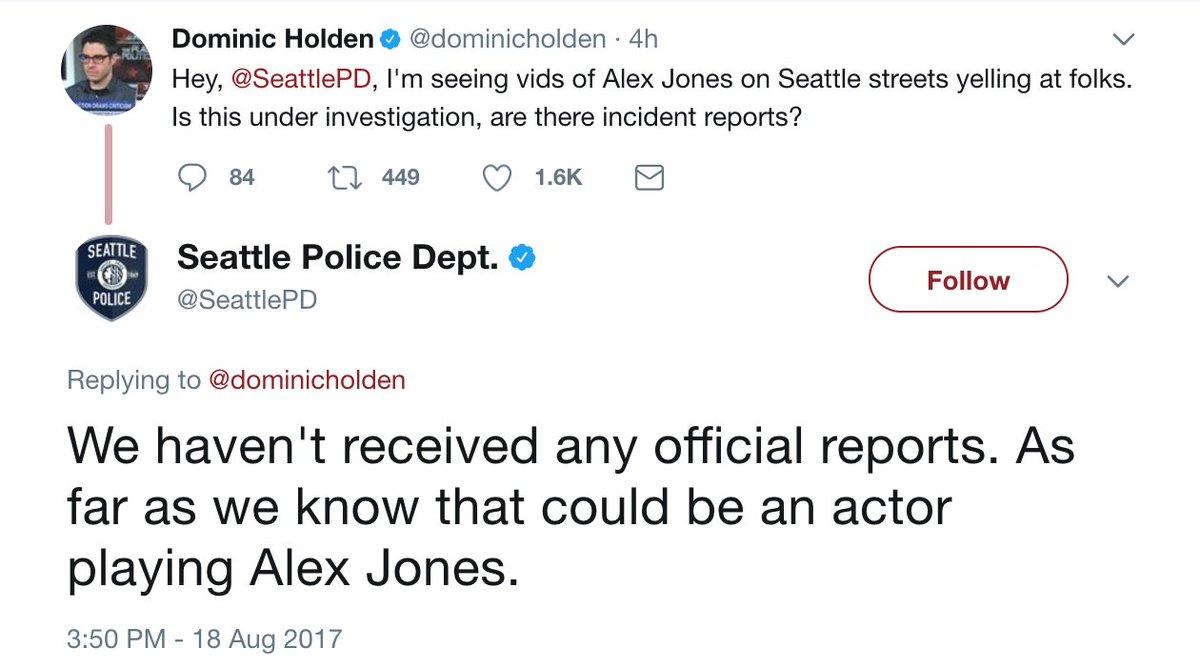 Seattle police department trolls Alex Jones https://t.co/QbKzuVsHjx ht...