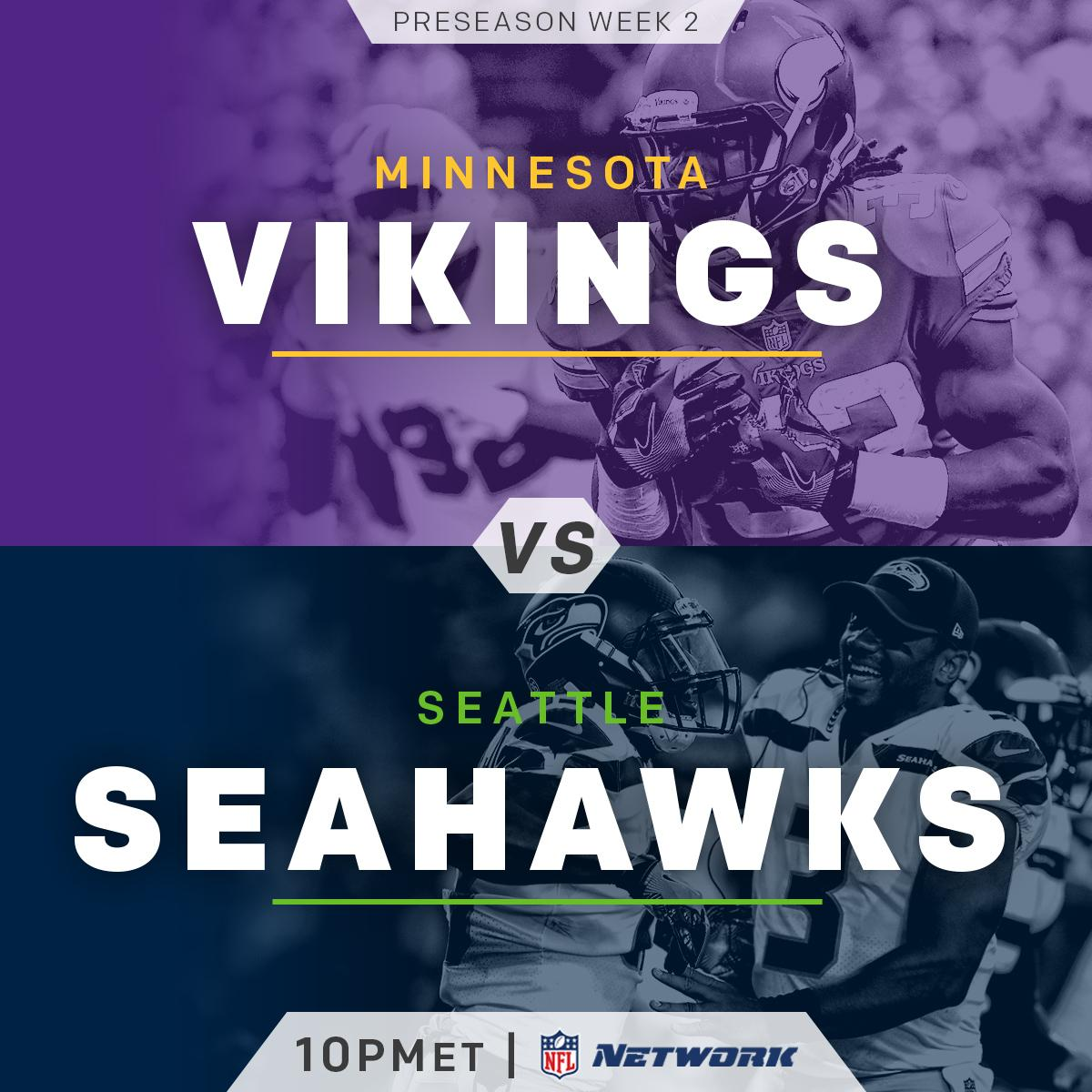.@Vikings. @Seahawks. TONIGHT.  10pm ET on @nflnetwork! #MINvsSEA http...