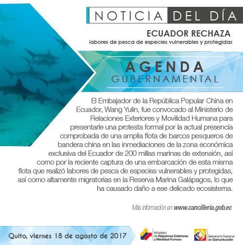 @XHNews #Ecuador can&#39;t allow this kind of activity that put in risk #Galapagos Marine Reserve of as well as the Ecuador&#39;s natural resources<br>http://pic.twitter.com/pq4VE7nZgn