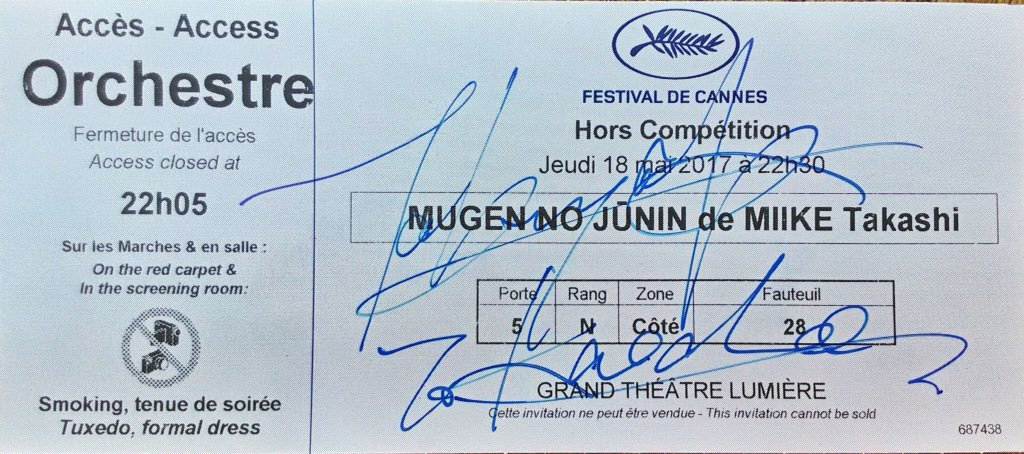 3 months ago, he signed this for me. I&#39;m still on cloud 9 until today. #bladeoftheimmortal #無限の住人 #TakuyaKimura #木村拓哉 #redcarpet at #Cannes <br>http://pic.twitter.com/JVduiS4PB3