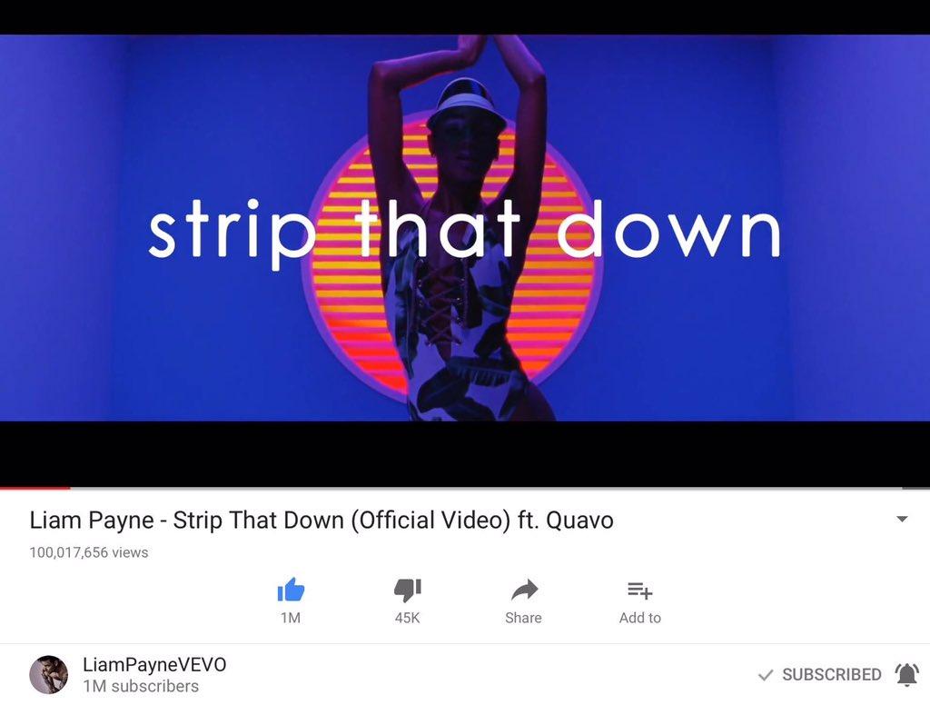 Liam&#39;s #StripThatDown music video reached 100 millions views on #Youtube!!!  #LiamPayne #Liam #Payne #StripThatDown #GetLow<br>http://pic.twitter.com/jWRVmo3bWB