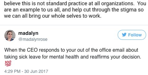 This CEO's email is a reminder that mental health days are just as valid as sick days: https://t.co/1EGMQWbWsl