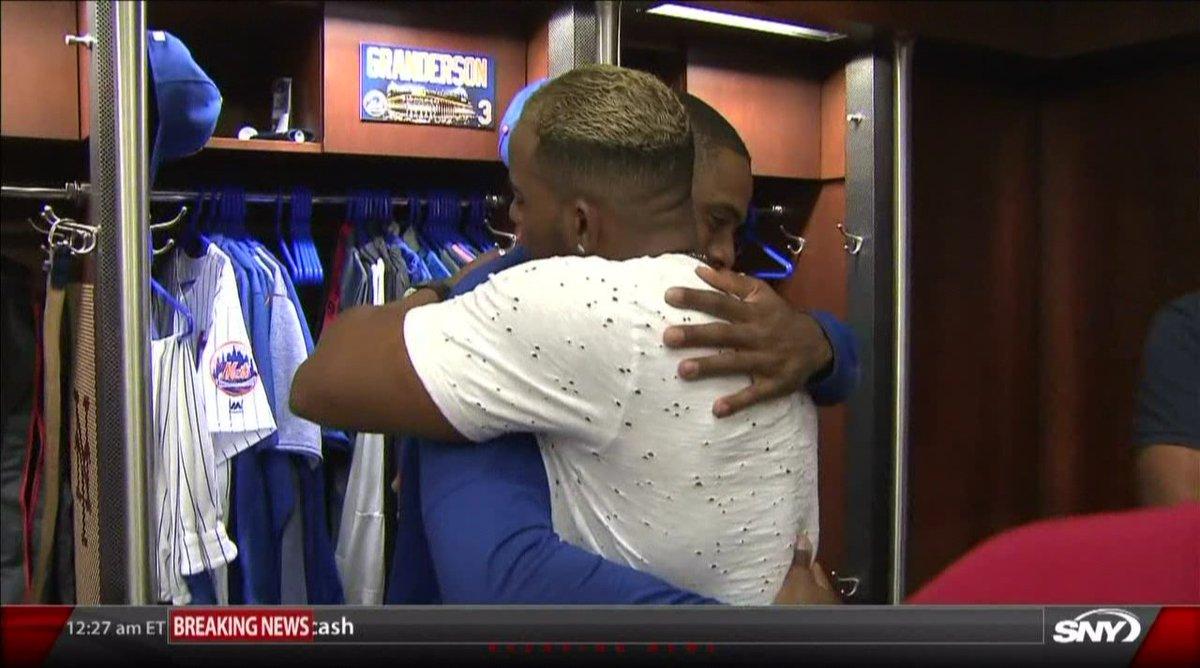 Yoenis giving his goodbye hug to Curtis...
