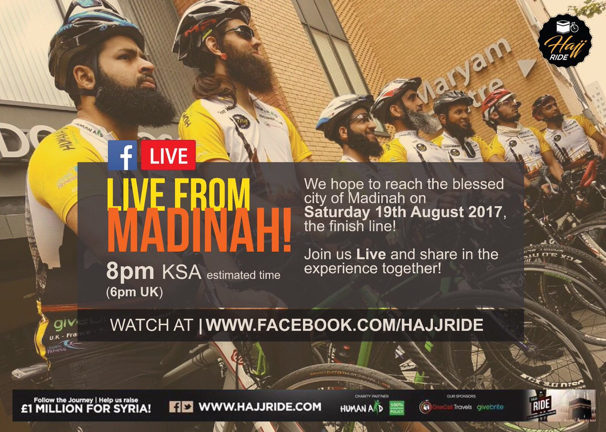 We will be LIVE on #Facebook today from #Madinah at 6pm!  #HajjRide @HumanAidUK<br>http://pic.twitter.com/tLpqsvT5Ld