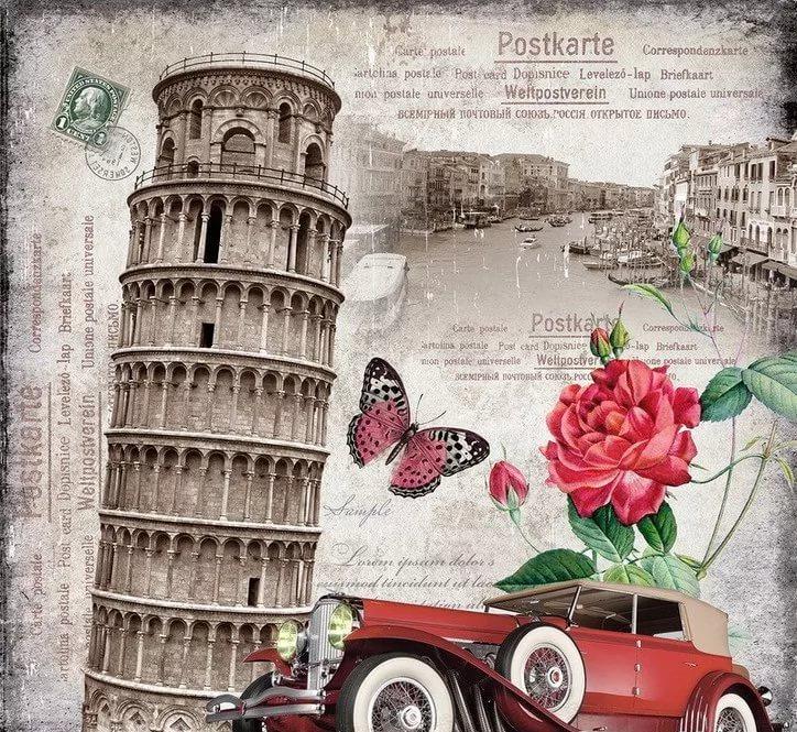 Силуэтом, открытка с днем рождения на фоне италии