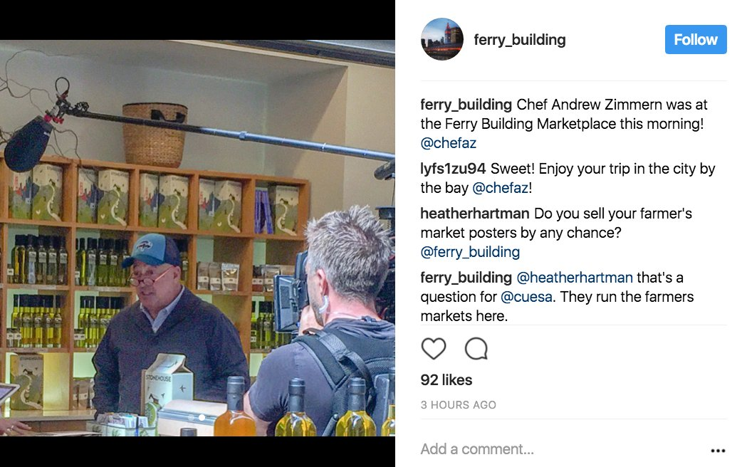 TV host Andrew Zimmern spotted filming at Ferry Building https://t.co/Psnfm4pNKF