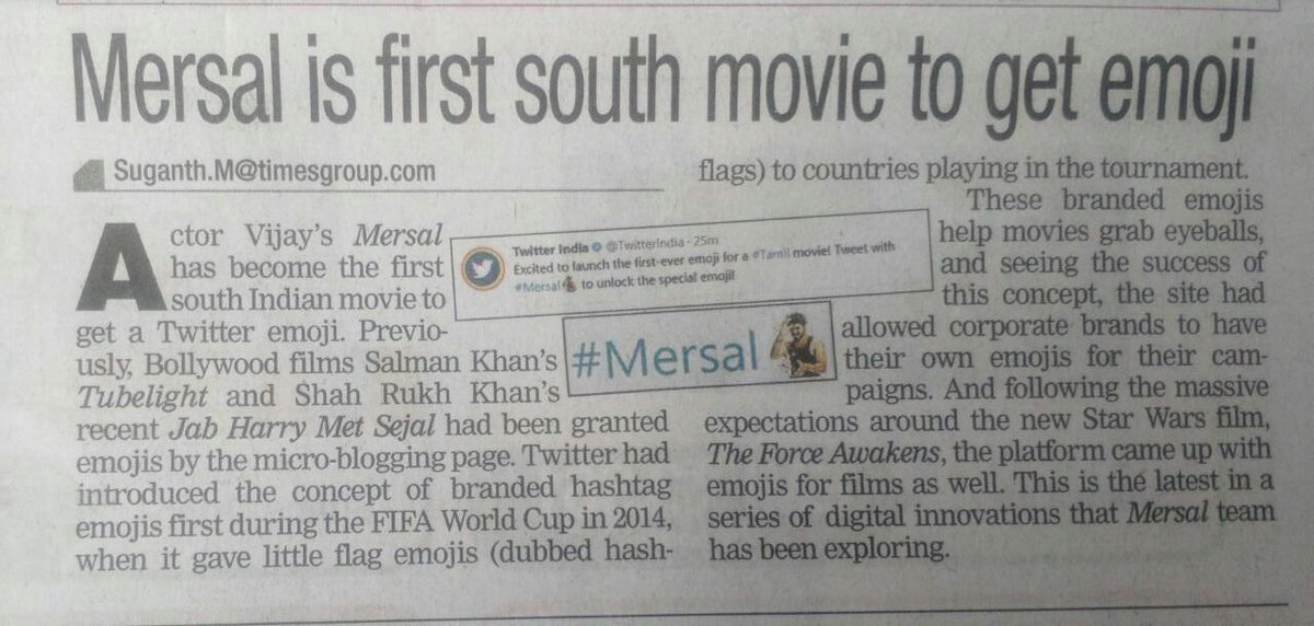 #Mersal  is first South movie to get #Emoji From #Twitter  #MersalDiwali  #TOI ! <br>http://pic.twitter.com/YpkpoF84B4