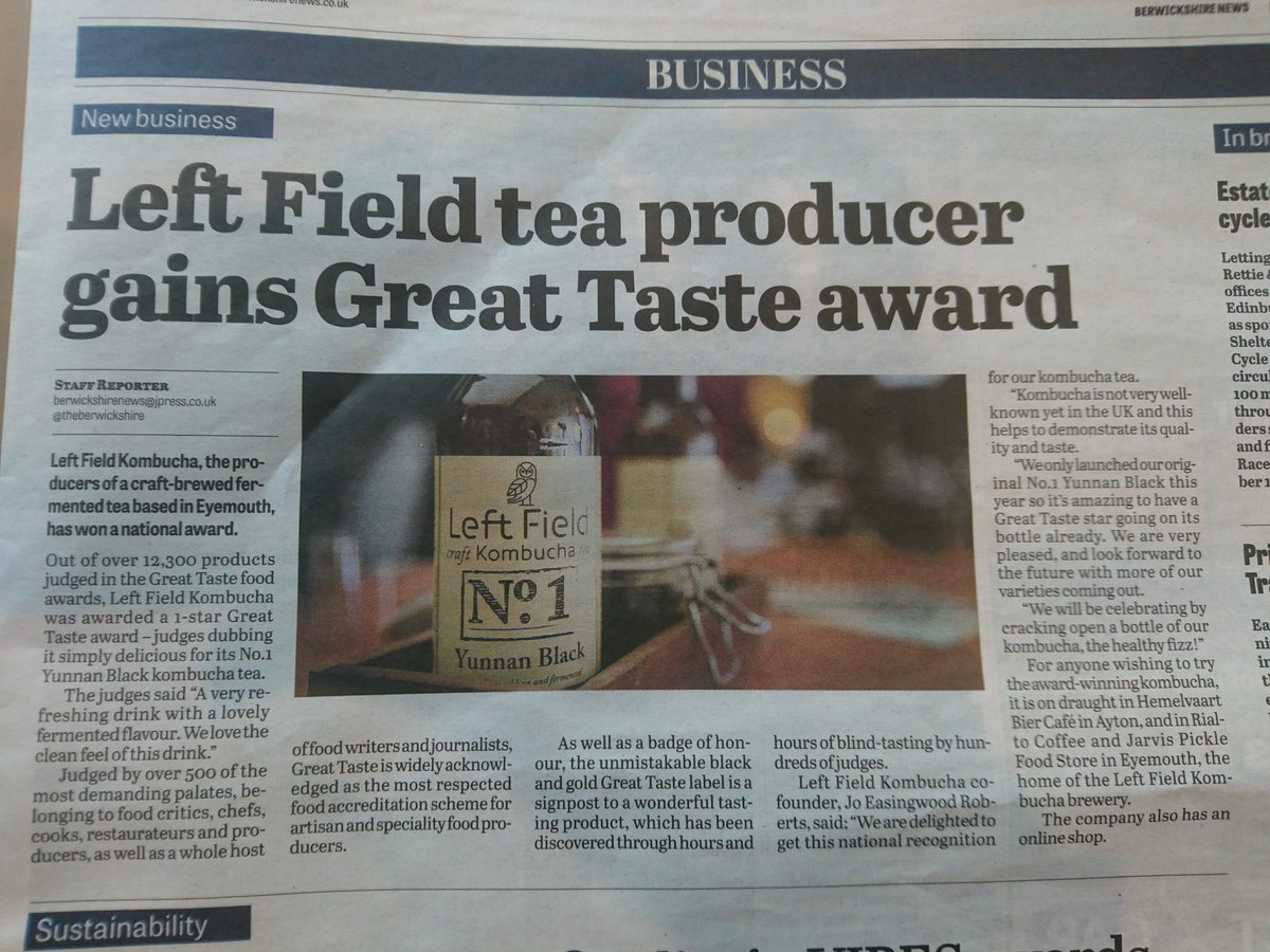 Thanks to @theberwickshire for this, and for mentioning our friends @RialtoCoffeeCo,  @HemelvaartBC and @jarvispickle.  #kombucha #Awards  <br>http://pic.twitter.com/altwlD7KOt