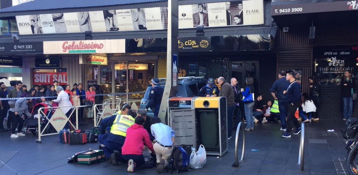 #BREAKING Five injured after car hits pedestrians in busy #Sydney street; driver may have suffered a medical episode, reports say