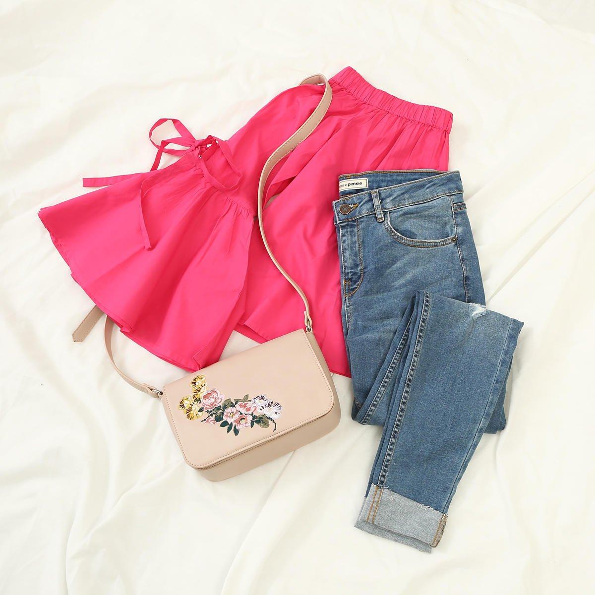 Outfit of the day ! Avec le Fuchsia on garde une bonne mine toute l'année  #ootd Shoppez le look >>  http:// fal.cn/tYlt    pic.twitter.com/HTizRJNrvv