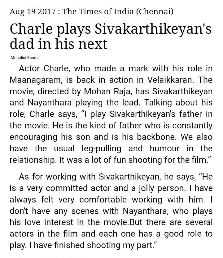 #Charlie plays @Siva_Kartikeyan &#39;s dad in social thriller #Velaikkaran   @24AMSTUDIOS @jayam_mohanraja #Nayanthara  @anirudhofficial<br>http://pic.twitter.com/qg1gwioKFI