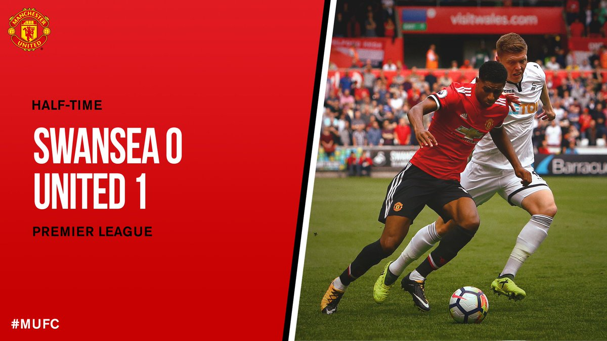 HT: Swansea 0 #MUFC 1.  We take a lead into the interval thanks to @Er...