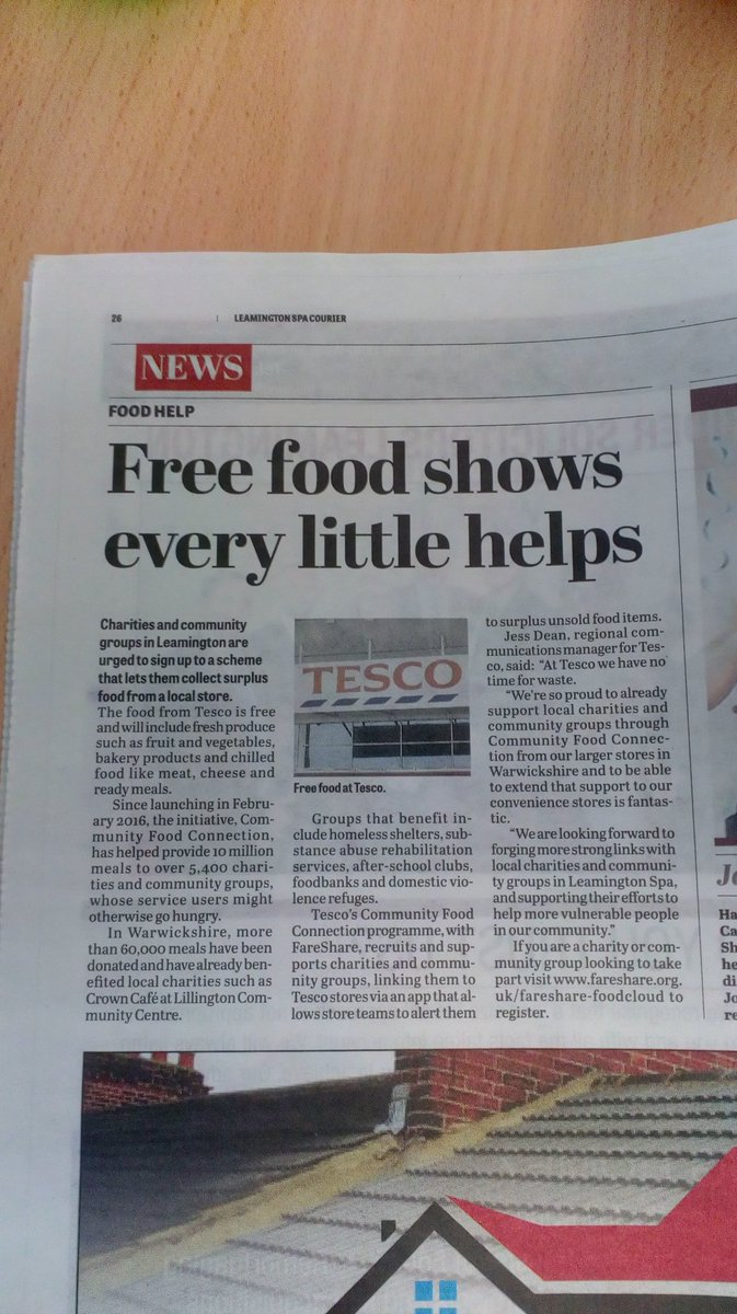 Great story in the @leamcourier @Tesco #express #surplusfood #launches4sept  @FareShareUK #charity #signup today @Prior_RuthF @richraines<br>http://pic.twitter.com/7Qs1oLFvbU