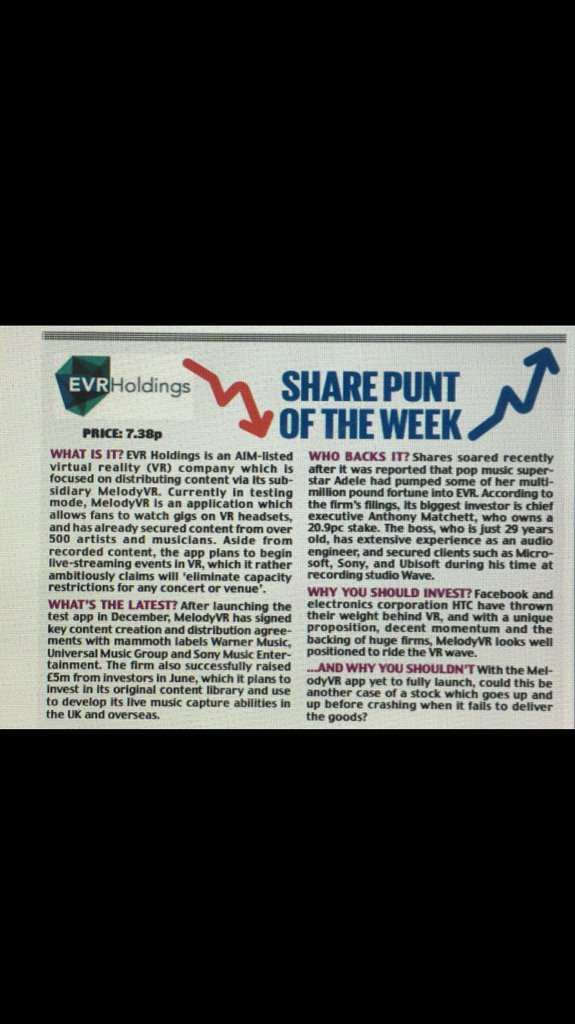 #EVRH in @MailOnline&quot;Share punt of the week&quot;Test app launched last Dec, #Facebook among many supporters.Interesting <br>http://pic.twitter.com/oSgqemMGSK