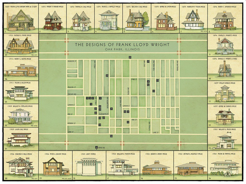 This Map Shows The Evolution of Frank Lloyd Wright's Oak Park Designs...