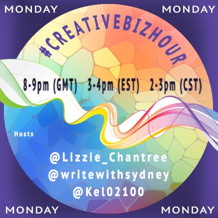 #creativebizhour is at 8pm (GMT) every Monday! Hope to see you there....