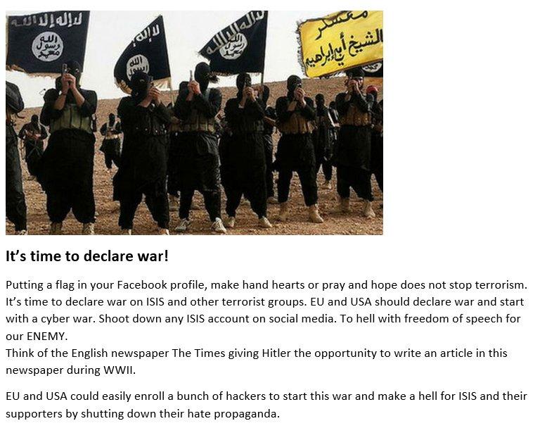 It&#39;s time to declare war! #svpol #säkpol #IS #ISIS #terrorism #jihadis<br>http://pic.twitter.com/WuBunVrpi8