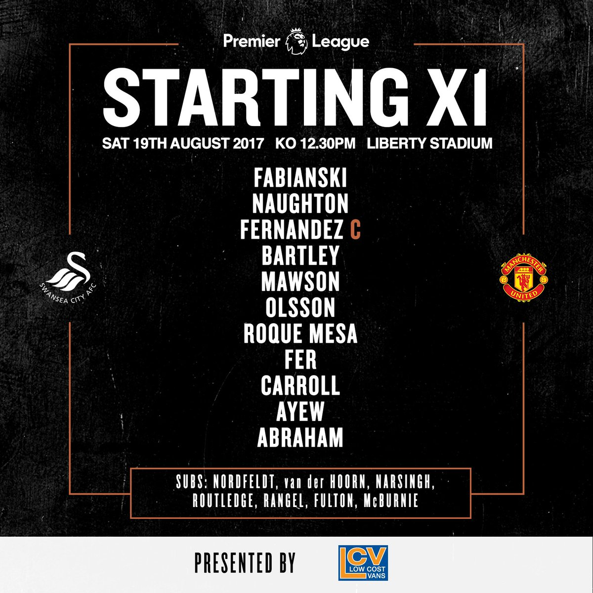 Here's how we will line up against @ManUtd this afternoon… 📋  #SWAMUN...