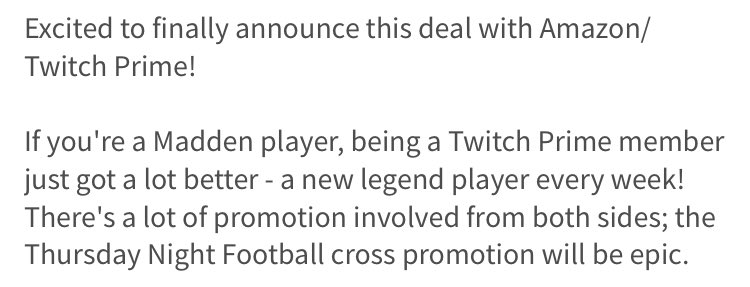 Awesome!   Looks like @EAMaddenNFL is getting @amazon @TwitchPrime Legends and Thu TV cross promotion.   #Madden18  #in <br>http://pic.twitter.com/YSoXXKkvGM