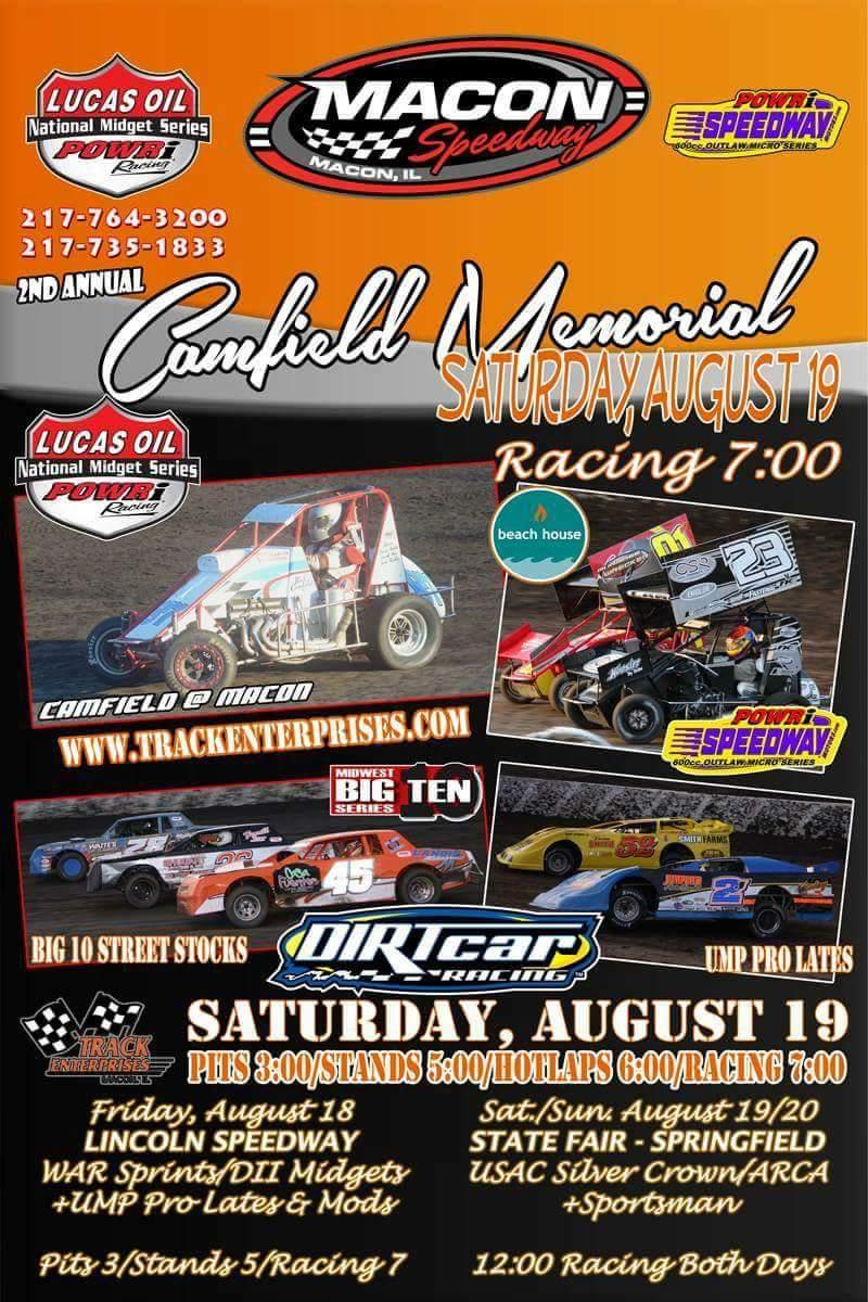 2nd Camfield Mem @POWRi_Racing Midgets & Micros, UMP Pro Crate LM, SS, &  Hrnts. More info at https://t.co/CYu55cIFIr… https://t.co/WIhSu5fMCU