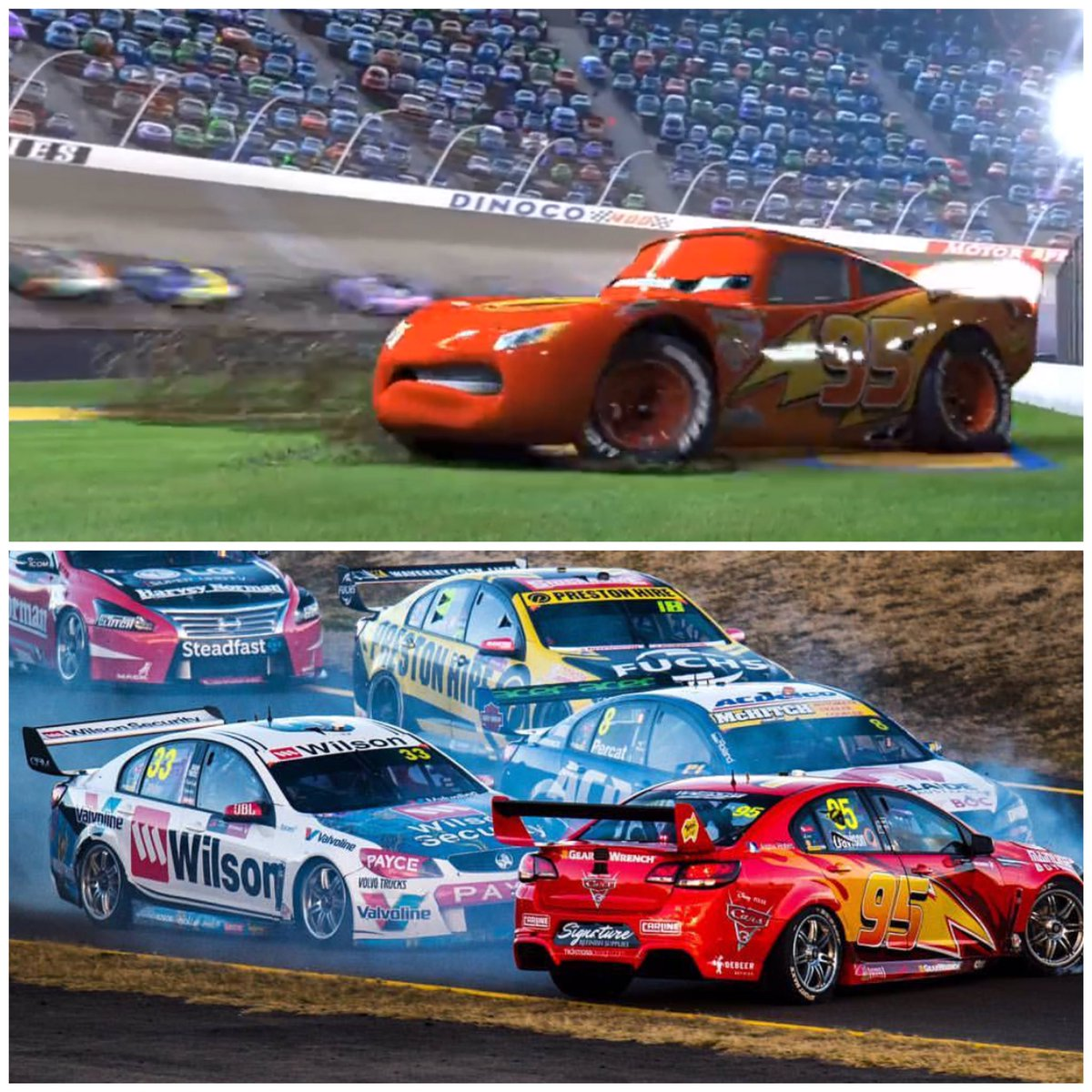 When life imitates art! Great recovery from @will_davison after this off early in race 17! #VASC #Cars #Disney #LightningMcQueen #KaChow<br>http://pic.twitter.com/IypZr7aulX