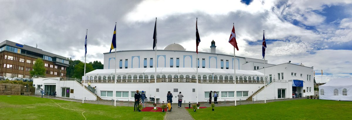 This is the 35th #JalsaSalanaNorge The Lawae-Ahmadiyya flag flying high alongside other Scandinavian flags #JalsaSalana #Norway <br>http://pic.twitter.com/7QNwveW81n