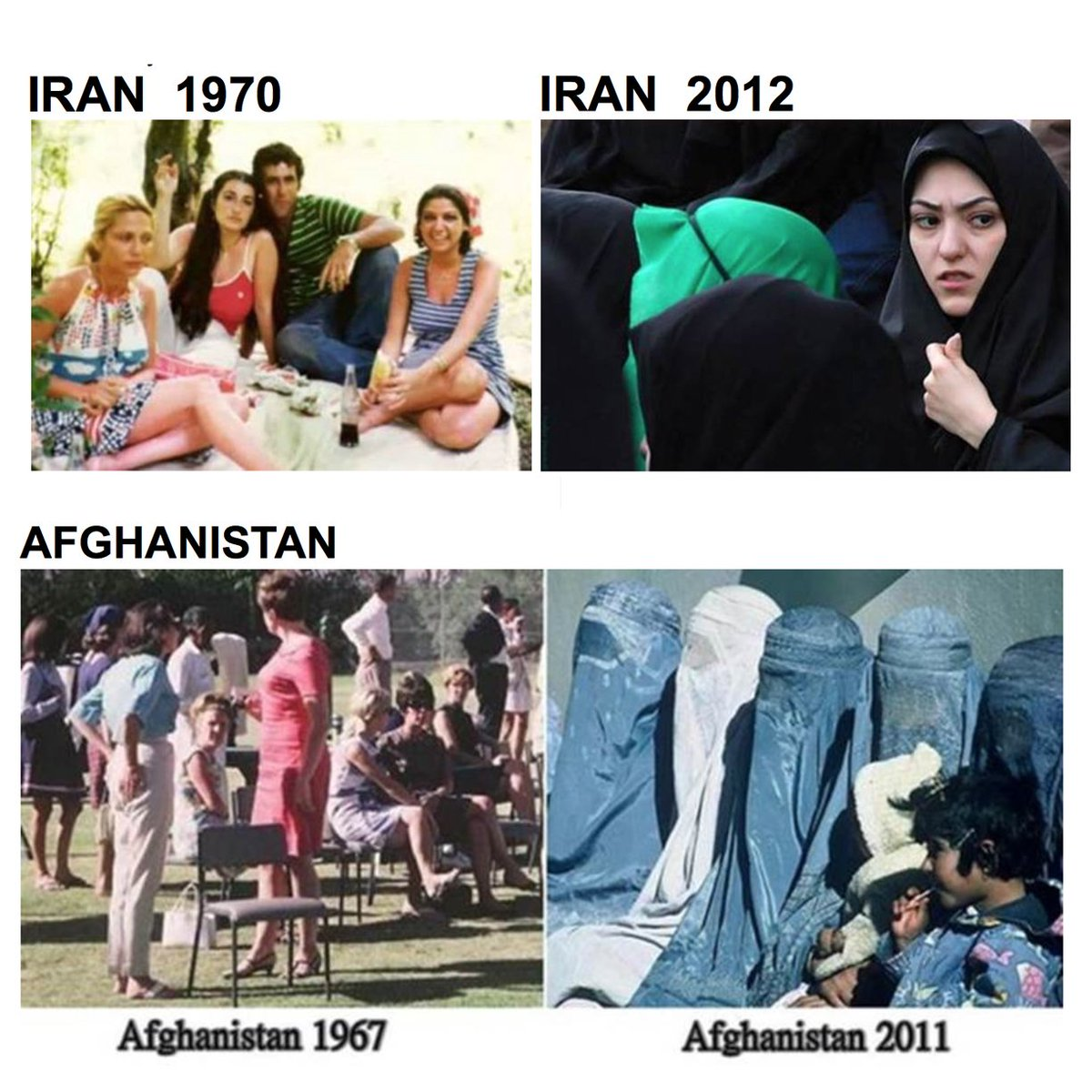 """Animal In The Mirror on Twitter: """"THEN & NOW: IMAGES of Iran & Afghanistan.  Secular vs #Islam. @UN @CNN @Foxnews #Sharia #IranFreedom @Iran_Policy… """""""