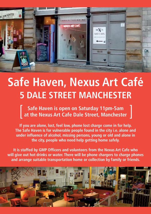 Safe Haven in #Manchester is open during the night on a Saturday for those who&#39;ve lost their way or need some #help <br>http://pic.twitter.com/SfofHehVdf