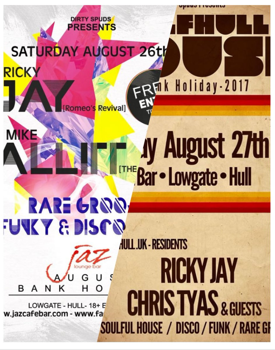 This coming #BankHolidayWeekend @JazBarHull #soulful #disco #nugroove #house and more... FREE ENTRY as always<br>http://pic.twitter.com/DZzDMP5vwx