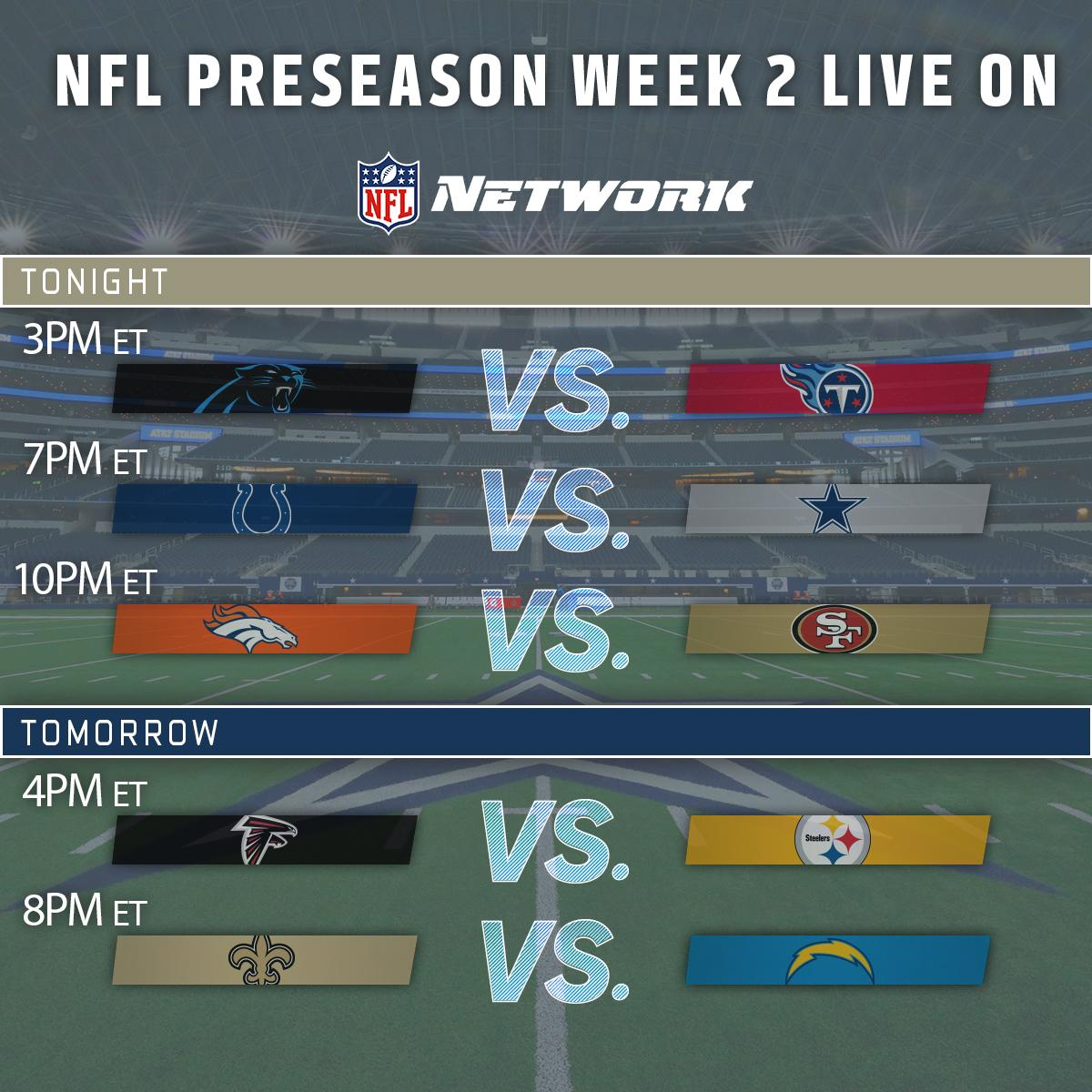 🖐 LIVE NFL Preseason games on NFL Network in 2 days!  Starting with #C...